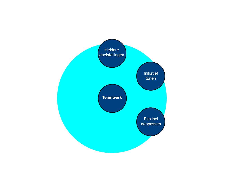 Teamwerk Heldere doelstellingen Initiatief tonen Flexibel aanpassen