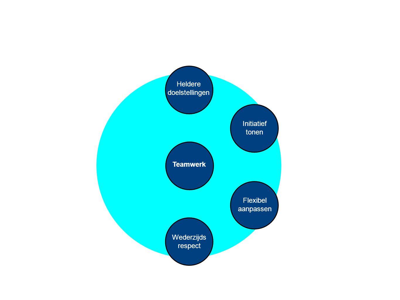 Teamwerk Heldere doelstellingen Wederzijds respect Initiatief tonen Flexibel aanpassen Open communicatie