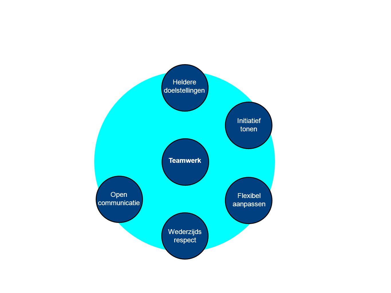 Teamwerk Heldere doelstellingen Wederzijds respect Initiatief tonen Flexibel aanpassen Gezamenlijke verantwoorde- lijkheid Open communicatie