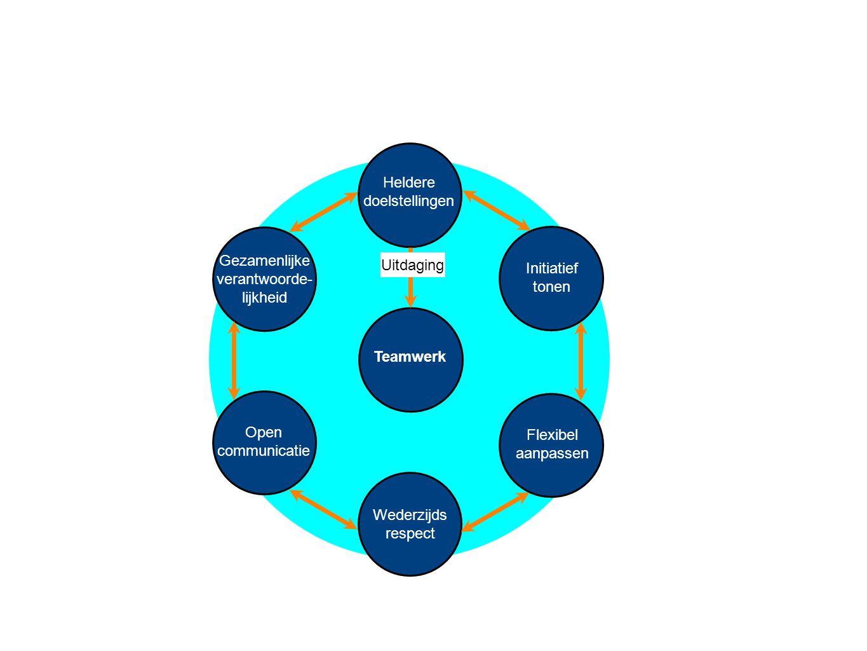 Teamwerk Heldere doelstellingen Wederzijds respect Initiatief tonen Flexibel aanpassen Gezamenlijke verantwoorde- lijkheid Open communicatie Uitdaging Actie