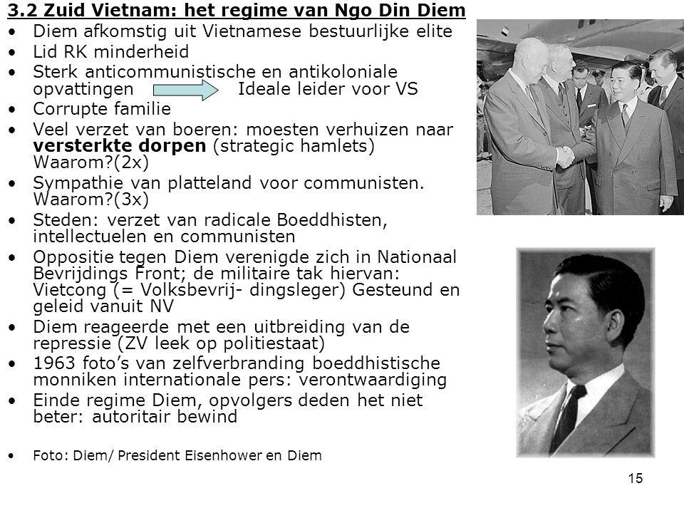 15 3.2 Zuid Vietnam: het regime van Ngo Din Diem Diem afkomstig uit Vietnamese bestuurlijke elite Lid RK minderheid Sterk anticommunistische en antiko