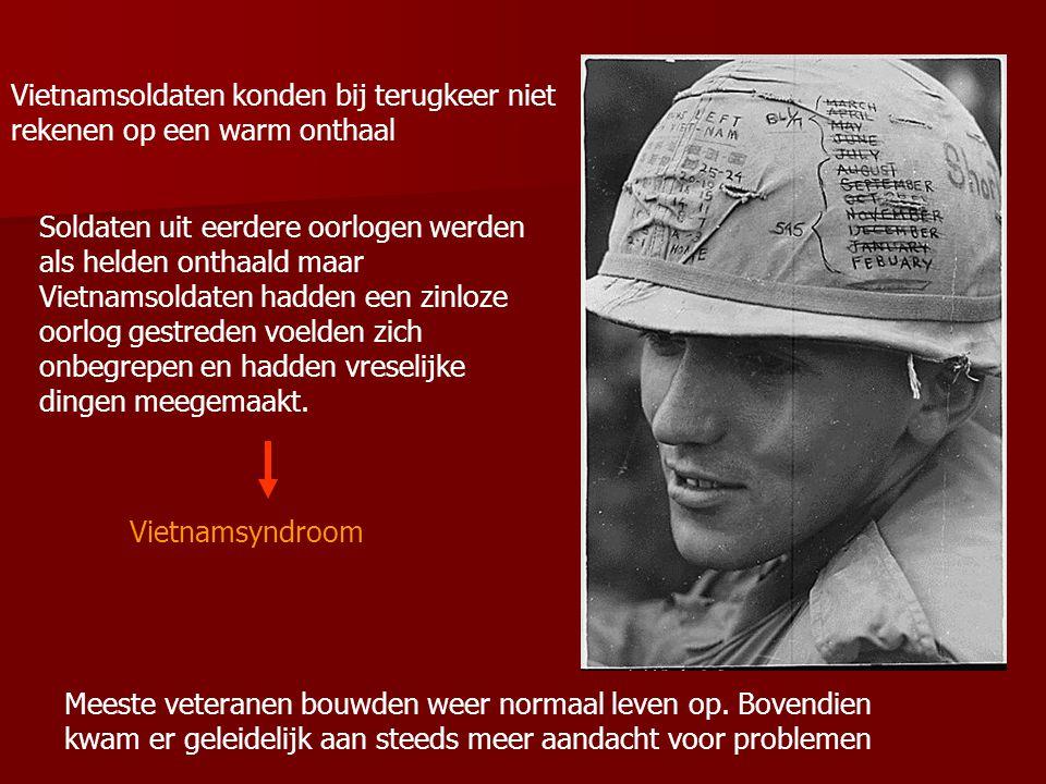 Vietnamsoldaten konden bij terugkeer niet rekenen op een warm onthaal Soldaten uit eerdere oorlogen werden als helden onthaald maar Vietnamsoldaten hadden een zinloze oorlog gestreden voelden zich onbegrepen en hadden vreselijke dingen meegemaakt.