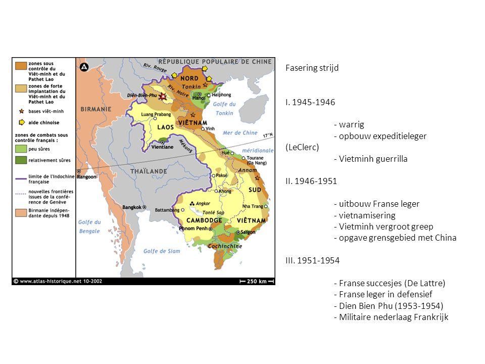 Fasering strijd I. 1945-1946 - warrig - opbouw expeditieleger (LeClerc) - Vietminh guerrilla II. 1946-1951 - uitbouw Franse leger - vietnamisering - V