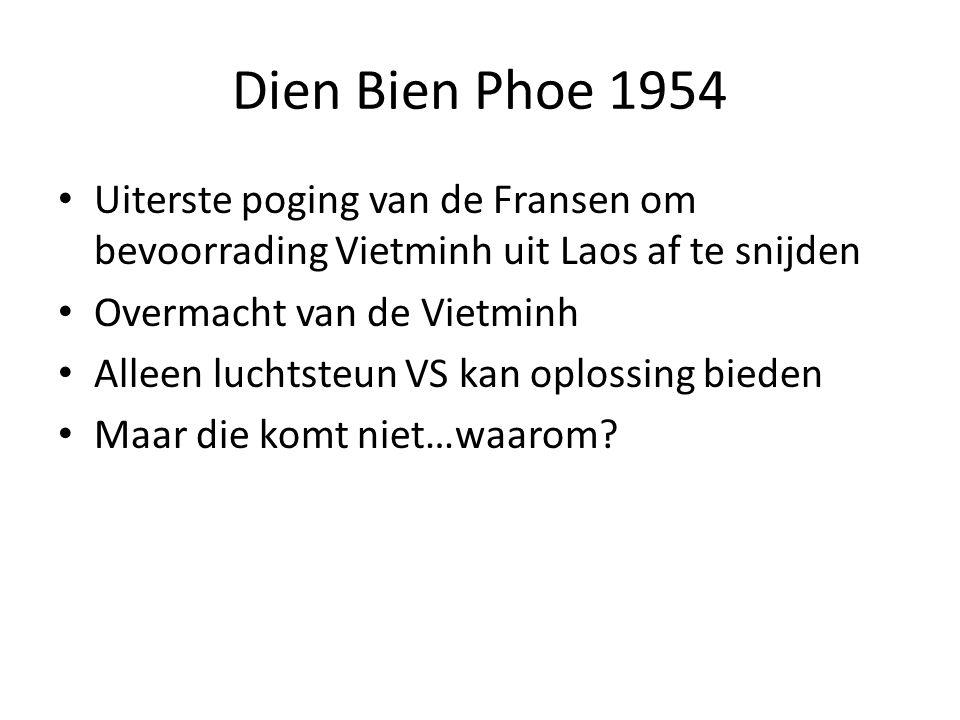 Dien Bien Phoe 1954 Uiterste poging van de Fransen om bevoorrading Vietminh uit Laos af te snijden Overmacht van de Vietminh Alleen luchtsteun VS kan