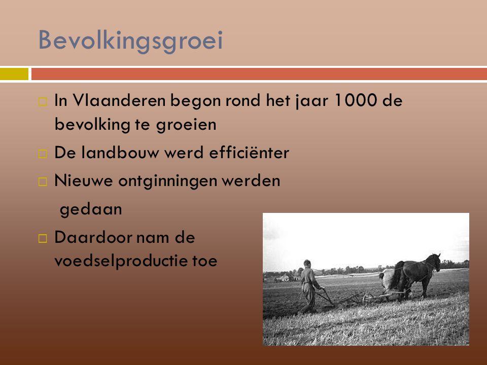 Bevolkingsgroei  In Vlaanderen begon rond het jaar 1000 de bevolking te groeien  De landbouw werd efficiënter  Nieuwe ontginningen werden gedaan 