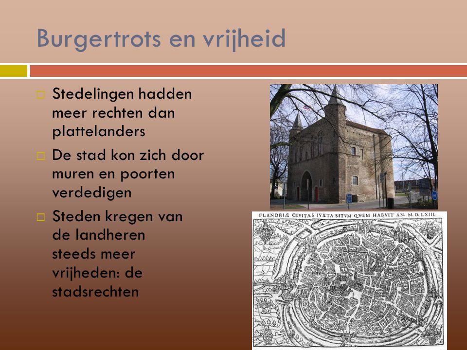 Burgertrots en vrijheid  Stedelingen hadden meer rechten dan plattelanders  De stad kon zich door muren en poorten verdedigen  Steden kregen van de