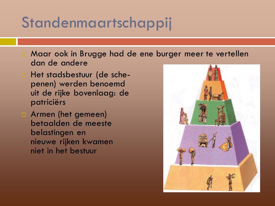 Standenmaartschappij  Maar ook in Brugge had de ene burger meer te vertellen dan de andere  Het stadsbestuur (de sche- penen) werden benoemd uit de
