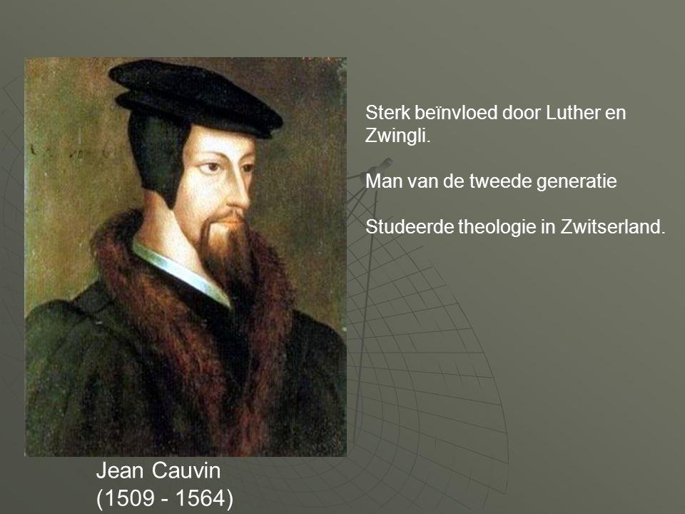 Zwingli  Zwingli (1484-1531)  Zwitserse hervormer: Tegen wantoestanden in de katholieke kerk  Gelooft niet in werkelijke aanwezigheid van Christus in de hostie  Daarmee is Calvijn het eens