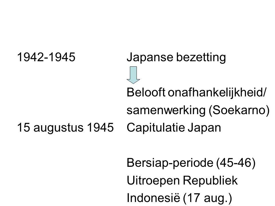 1942-1945Japanse bezetting Belooft onafhankelijkheid/ samenwerking (Soekarno) 15 augustus 1945Capitulatie Japan Bersiap-periode (45-46) Uitroepen Republiek Indonesië (17 aug.)