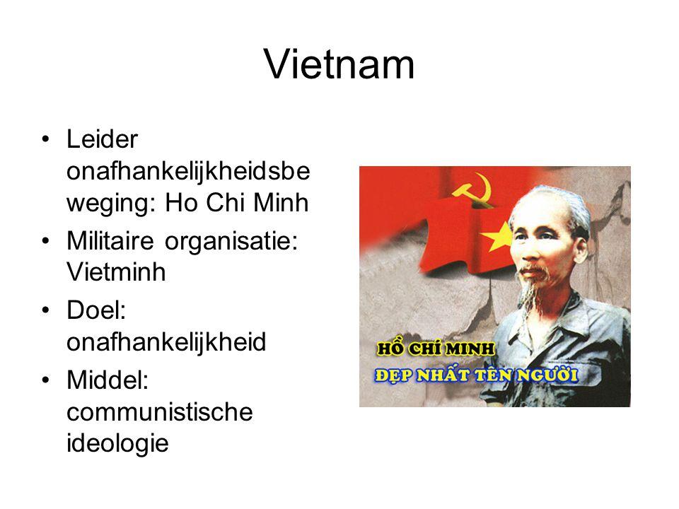 Vietnam Leider onafhankelijkheidsbe weging: Ho Chi Minh Militaire organisatie: Vietminh Doel: onafhankelijkheid Middel: communistische ideologie