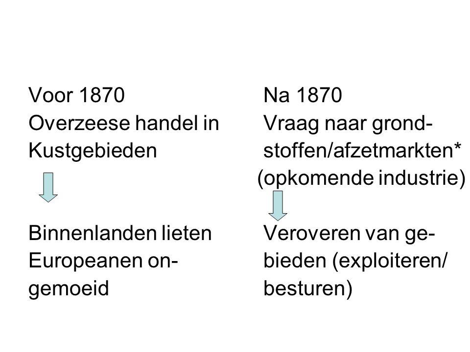 Voor 1870Na 1870 Overzeese handel inVraag naar grond- Kustgebiedenstoffen/afzetmarkten* (opkomende industrie) Binnenlanden lietenVeroveren van ge- Europeanen on-bieden (exploiteren/ gemoeidbesturen)