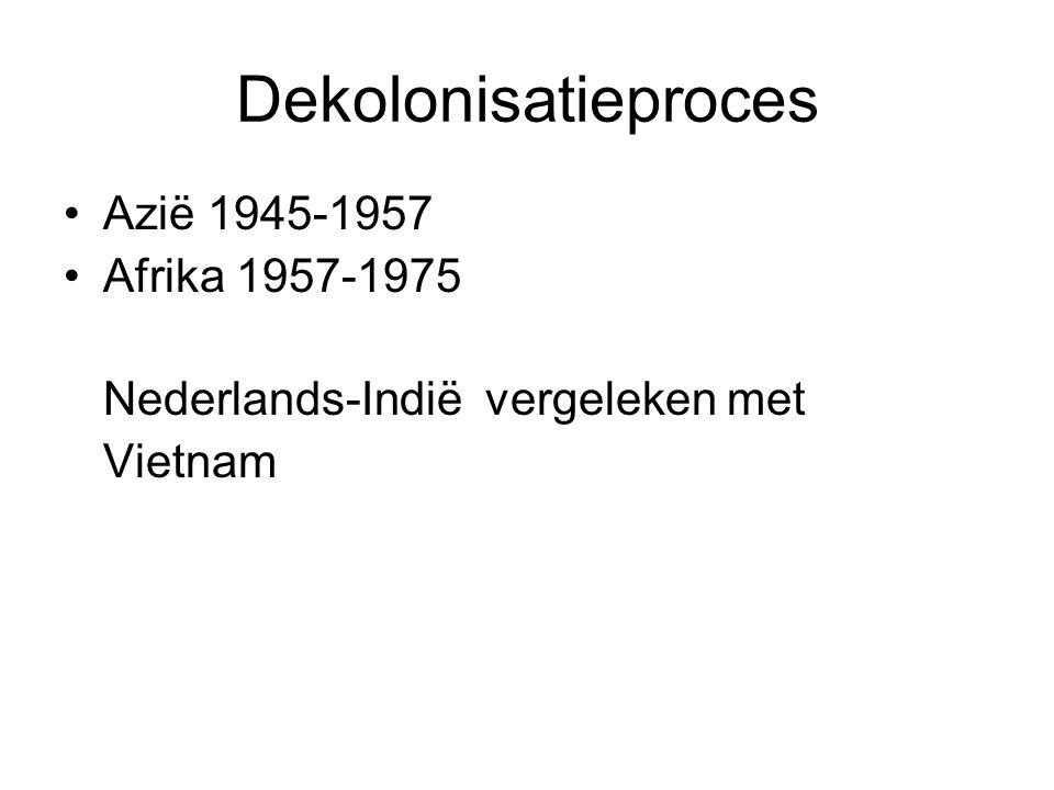 Dekolonisatieproces Azië 1945-1957 Afrika 1957-1975 Nederlands-Indië vergeleken met Vietnam