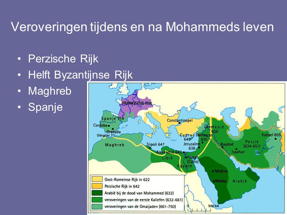 Veroveringen tijdens en na Mohammeds leven Perzische Rijk Helft Byzantijnse Rijk Maghreb Spanje