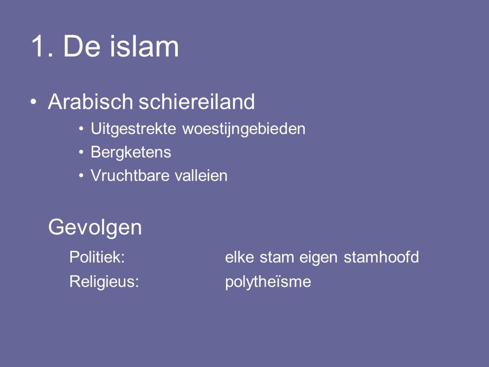1. De islam Arabisch schiereiland Uitgestrekte woestijngebieden Bergketens Vruchtbare valleien Gevolgen Politiek: elke stam eigen stamhoofd Religieus:
