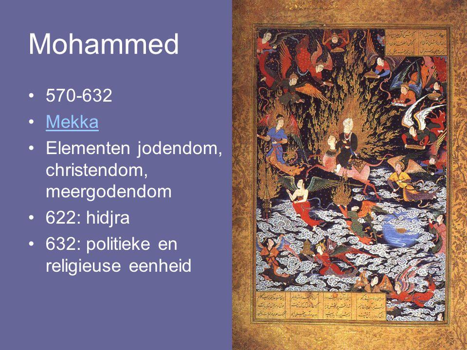 Mohammed 570-632 Mekka Elementen jodendom, christendom, meergodendom 622: hidjra 632: politieke en religieuse eenheid