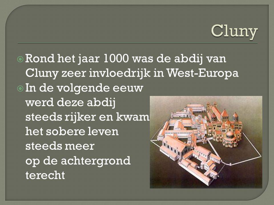  In Citeaux wordt in 1098 een nieuwe abdij gesticht  De monniken keren zich af van de rijkdom van Cluny  Ze vestigen zich ver van de bewoonde wereld en gaan nieuw gebied ontginnen  Zo voorzien ze in hun eigen levensonderhoud