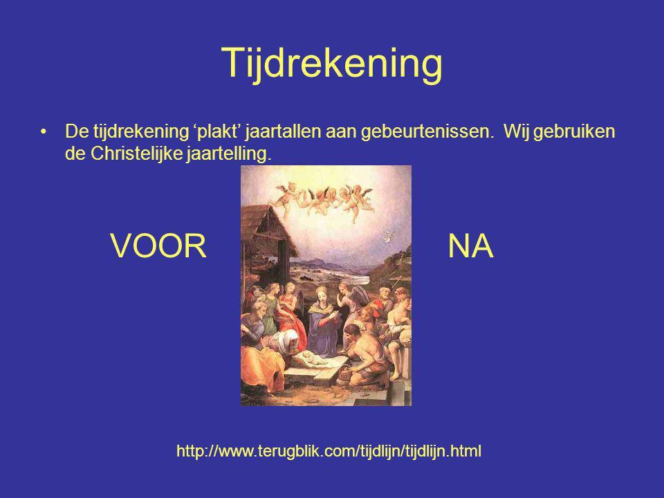 Tijdrekening De tijdrekening 'plakt' jaartallen aan gebeurtenissen. Wij gebruiken de Christelijke jaartelling. VOOR NA http://www.terugblik.com/tijdli