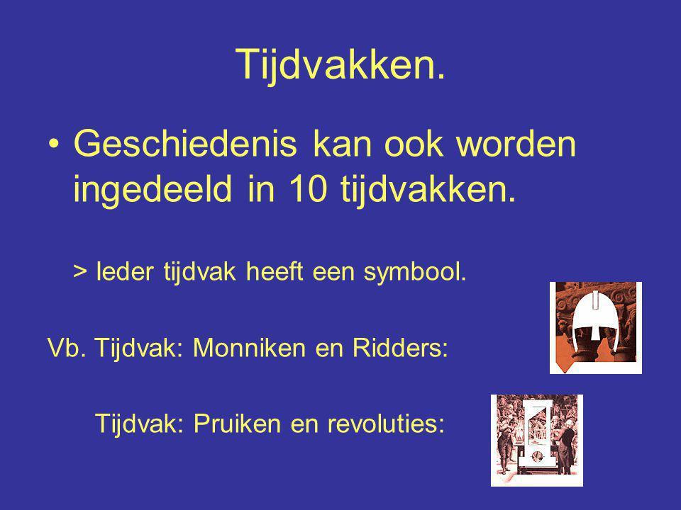 Tijdvakken. Geschiedenis kan ook worden ingedeeld in 10 tijdvakken. > Ieder tijdvak heeft een symbool. Vb. Tijdvak: Monniken en Ridders: Tijdvak: Prui