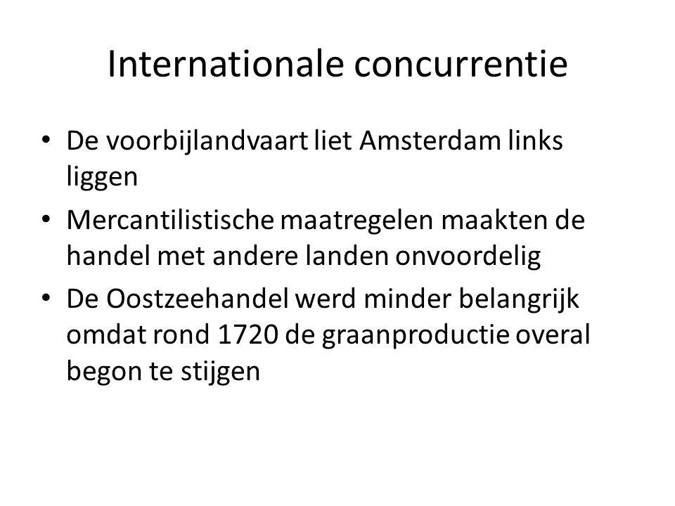 Internationale concurrentie De voorbijlandvaart liet Amsterdam links liggen Mercantilistische maatregelen maakten de handel met andere landen onvoorde