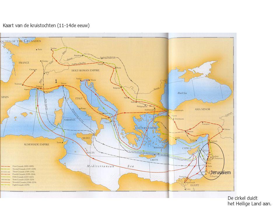 Kaart van de kruistochten (11-14de eeuw) De cirkel duidt het Heilige Land aan. 1 Jerusalem
