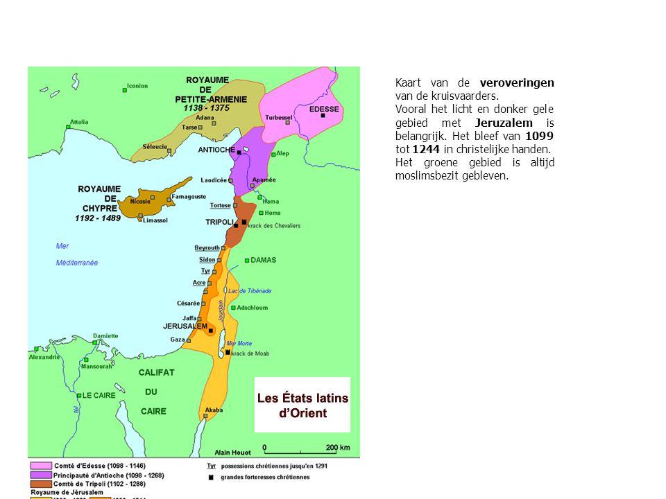 Kaart van de veroveringen van de kruisvaarders.
