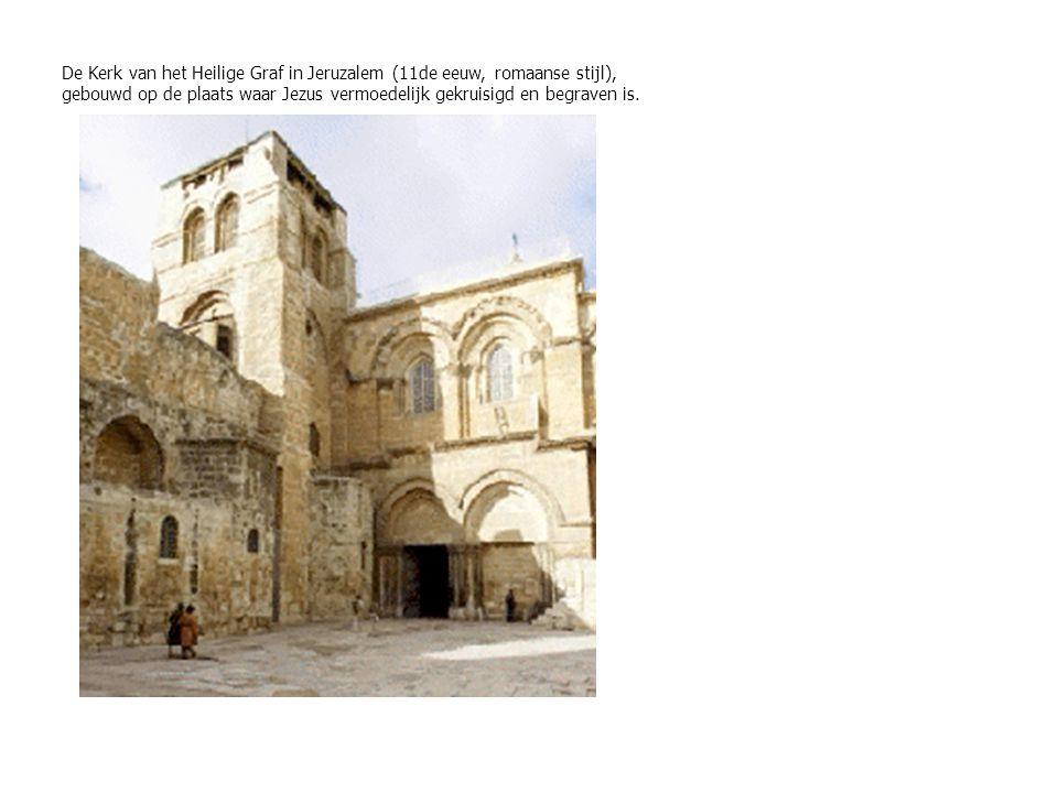 De Kerk van het Heilige Graf in Jeruzalem (11de eeuw, romaanse stijl), gebouwd op de plaats waar Jezus vermoedelijk gekruisigd en begraven is.