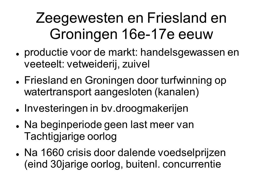 Zeegewesten en Friesland en Groningen 16e-17e eeuw productie voor de markt: handelsgewassen en veeteelt: vetweiderij, zuivel Friesland en Groningen do