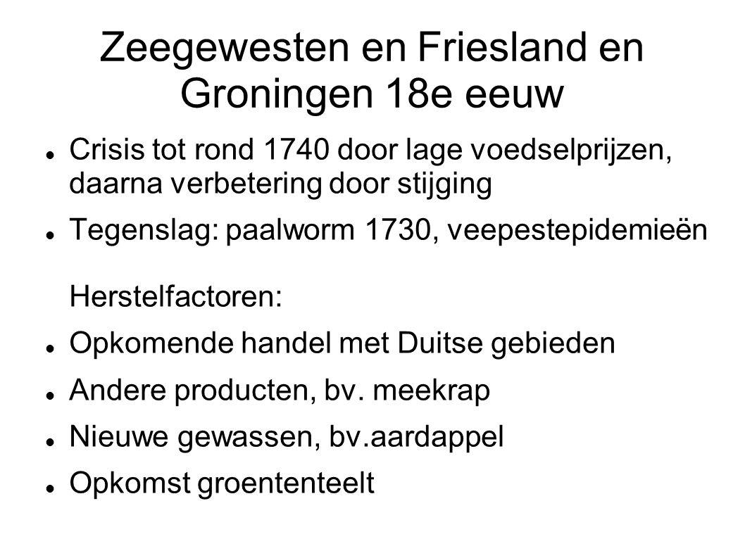 Zeegewesten en Friesland en Groningen 18e eeuw Crisis tot rond 1740 door lage voedselprijzen, daarna verbetering door stijging Tegenslag: paalworm 173