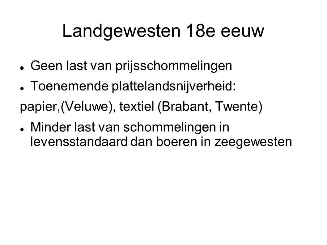 Landgewesten 18e eeuw Geen last van prijsschommelingen Toenemende plattelandsnijverheid: papier,(Veluwe), textiel (Brabant, Twente) Minder last van sc