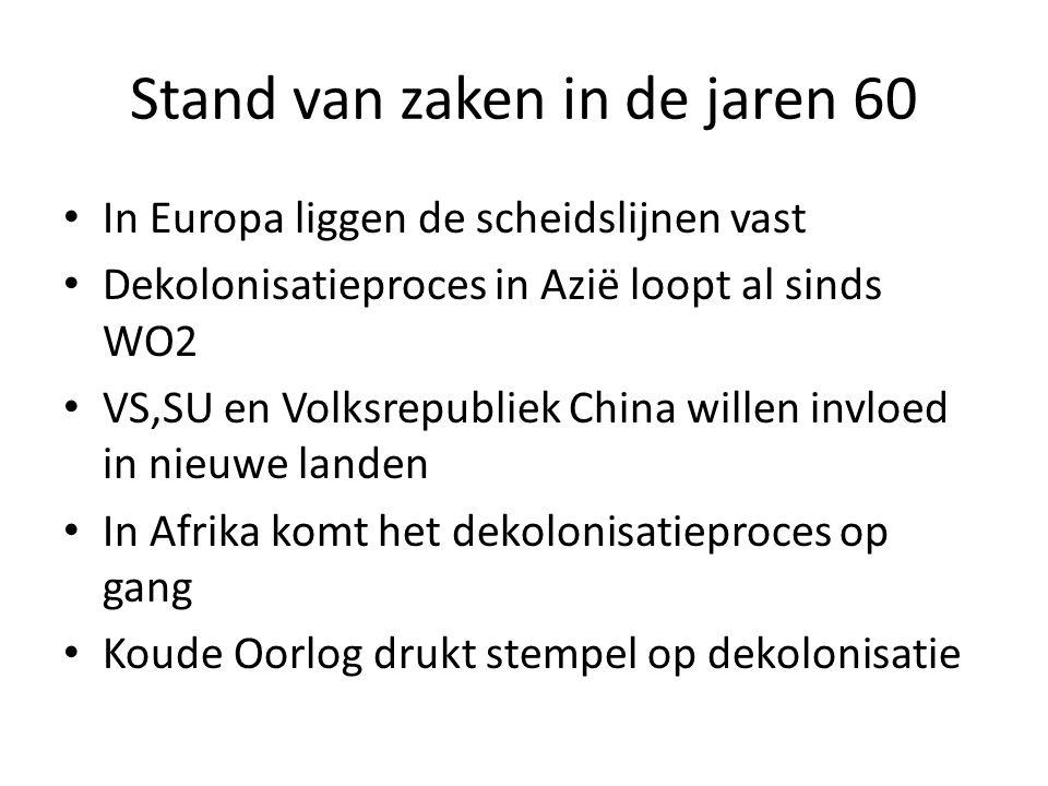 Stand van zaken in de jaren 60 In Europa liggen de scheidslijnen vast Dekolonisatieproces in Azië loopt al sinds WO2 VS,SU en Volksrepubliek China wil