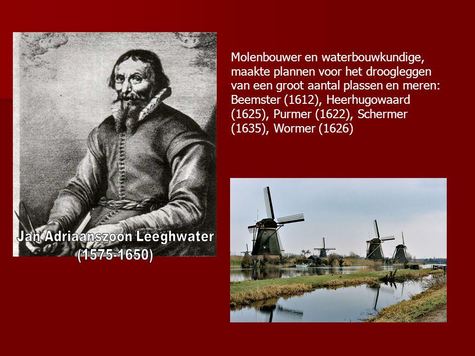 Molenbouwer en waterbouwkundige, maakte plannen voor het droogleggen van een groot aantal plassen en meren: Beemster (1612), Heerhugowaard (1625), Pur