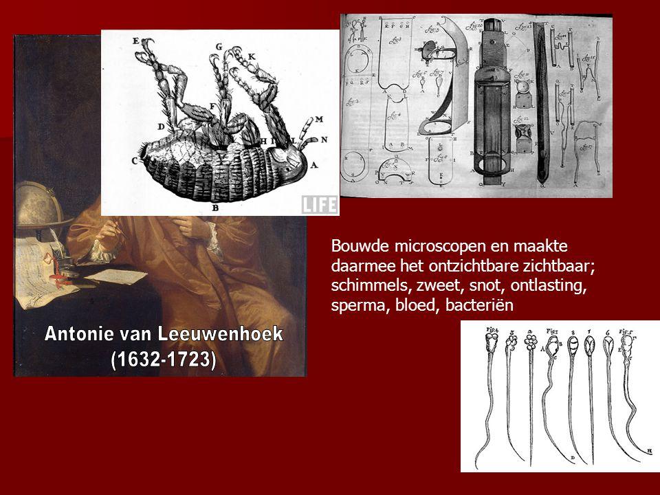 Bouwde microscopen en maakte daarmee het ontzichtbare zichtbaar; schimmels, zweet, snot, ontlasting, sperma, bloed, bacteriën