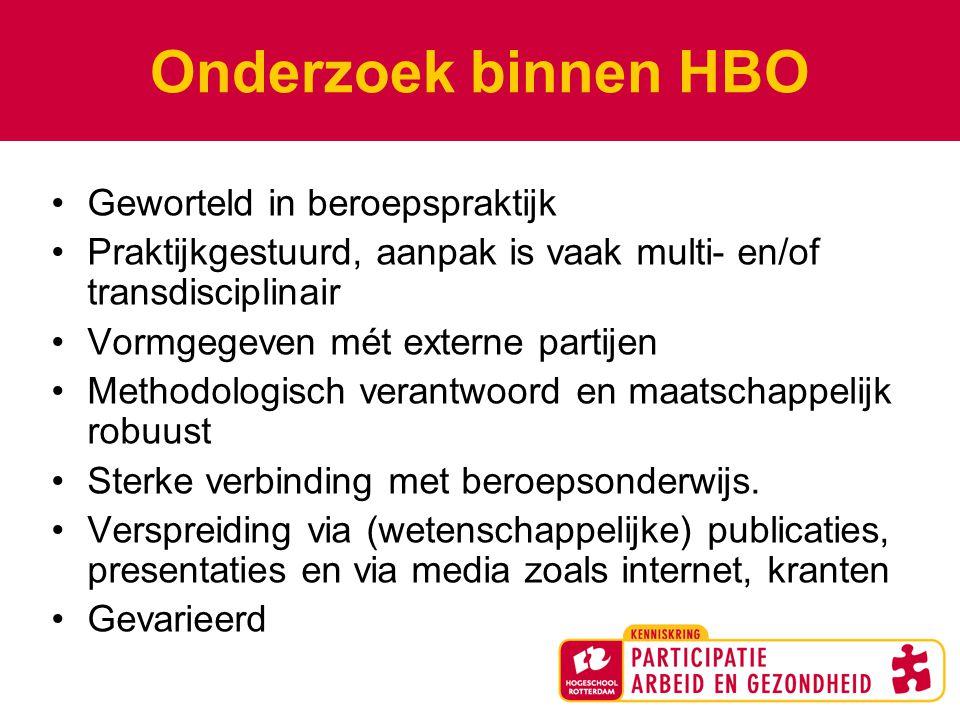 Onderzoek binnen HBO Geworteld in beroepspraktijk Praktijkgestuurd, aanpak is vaak multi- en/of transdisciplinair Vormgegeven mét externe partijen Methodologisch verantwoord en maatschappelijk robuust Sterke verbinding met beroepsonderwijs.