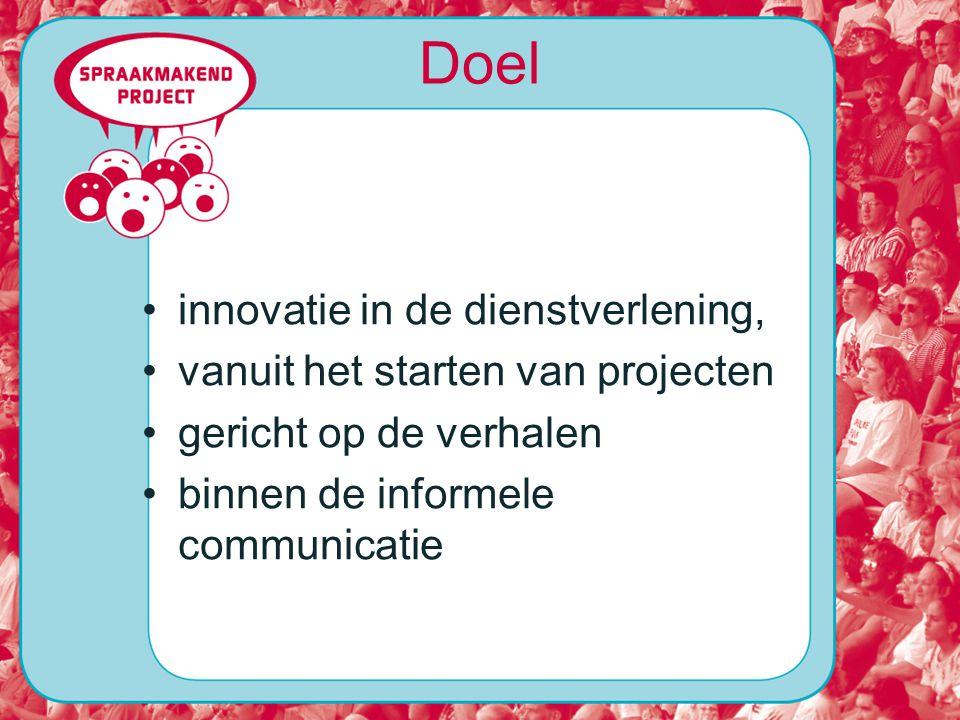Doel innovatie in de dienstverlening, vanuit het starten van projecten gericht op de verhalen binnen de informele communicatie