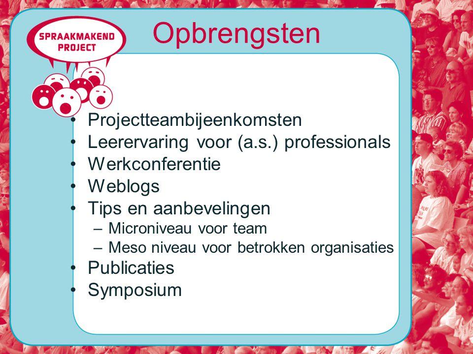 Projectteambijeenkomsten Leerervaring voor (a.s.) professionals Werkconferentie Weblogs Tips en aanbevelingen –Microniveau voor team –Meso niveau voor betrokken organisaties Publicaties Symposium