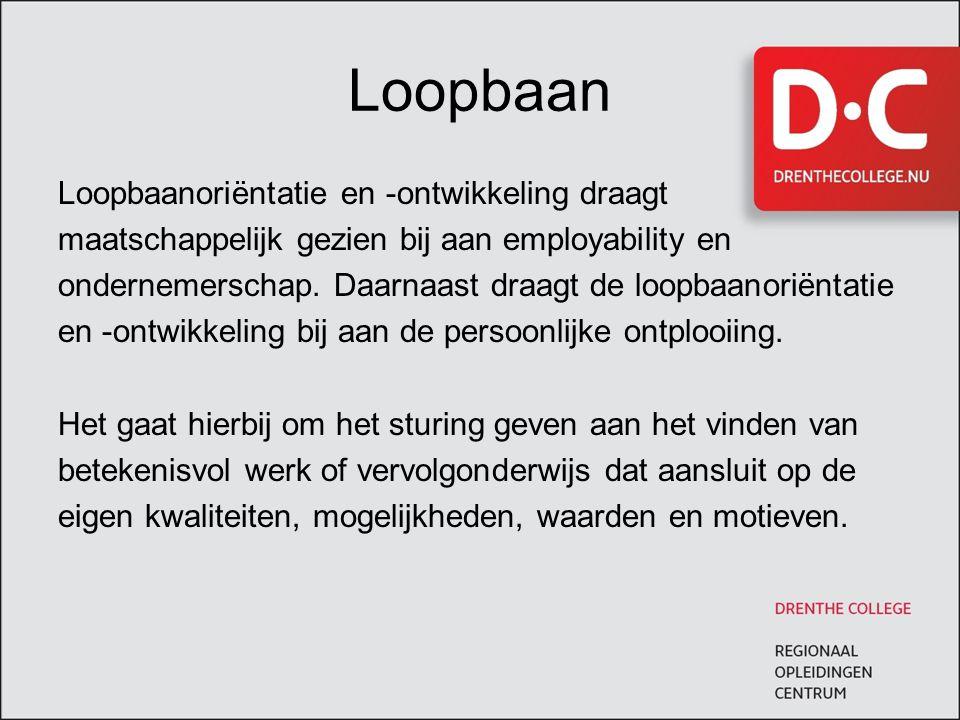 Loopbaan Loopbaanoriëntatie en -ontwikkeling draagt maatschappelijk gezien bij aan employability en ondernemerschap. Daarnaast draagt de loopbaanoriën