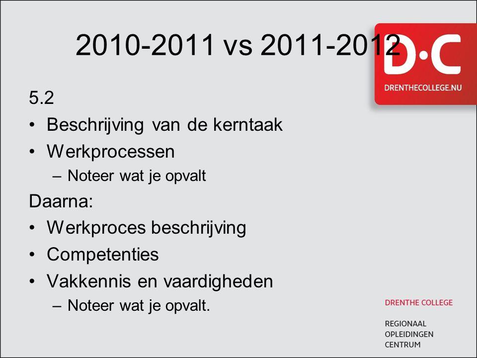 2010-2011 vs 2011-2012 5.2 Beschrijving van de kerntaak Werkprocessen –Noteer wat je opvalt Daarna: Werkproces beschrijving Competenties Vakkennis en