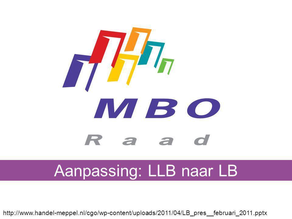 http://www.handel-meppel.nl/cgo/wp-content/uploads/2011/04/LB_pres__februari_2011.pptx Aanpassing: LLB naar LB
