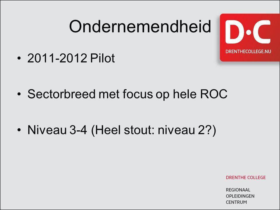 Ondernemendheid 2011-2012 Pilot Sectorbreed met focus op hele ROC Niveau 3-4 (Heel stout: niveau 2?)