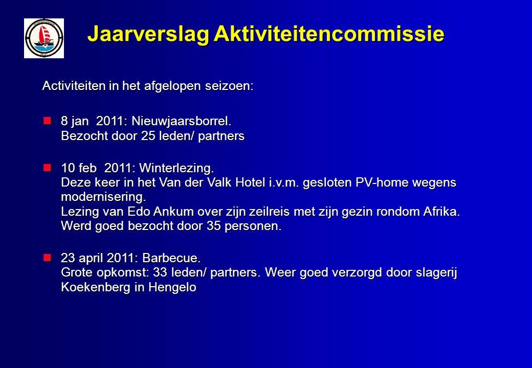 Jaarverslag Aktiviteitencommissie Activiteiten in het afgelopen seizoen: 8 jan 2011: Nieuwjaarsborrel.