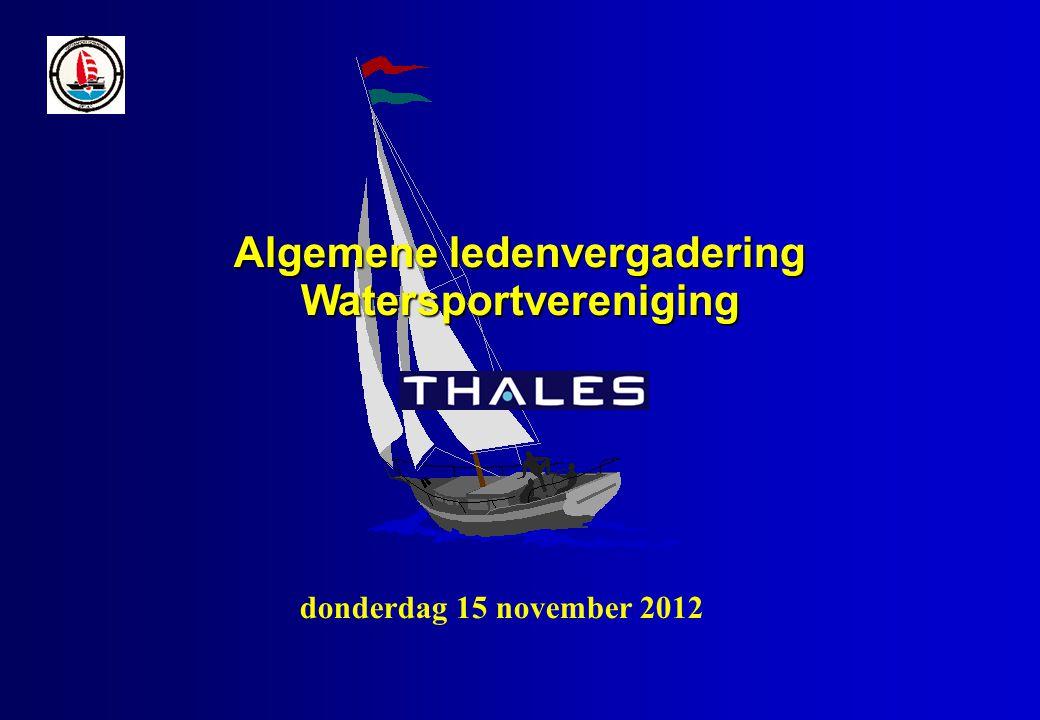 Algemene ledenvergadering Watersportvereniging donderdag 15 november 2012