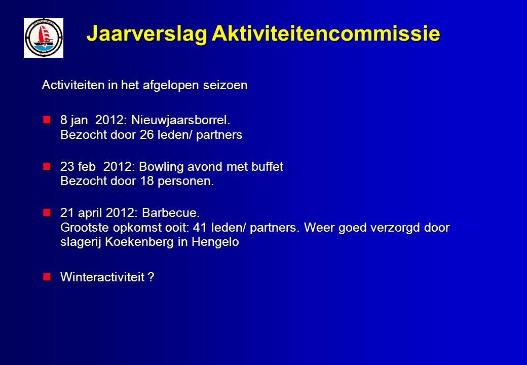 Jaarverslag Aktiviteitencommissie Activiteiten in het afgelopen seizoen 8 jan 2012: Nieuwjaarsborrel.