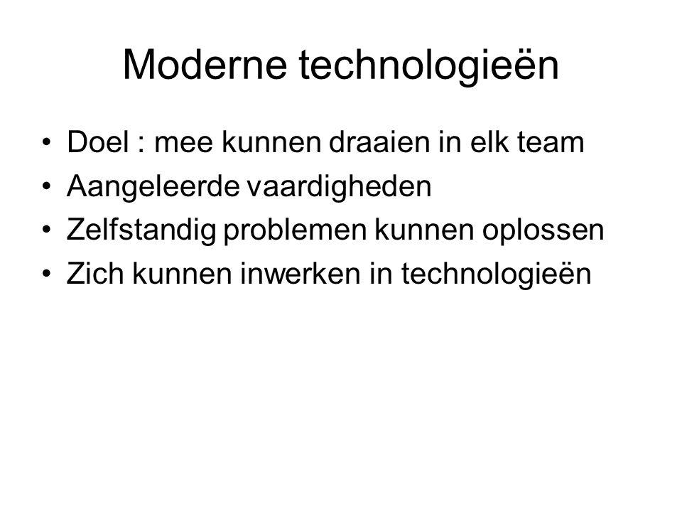 Moderne technologieën Doel : mee kunnen draaien in elk team Aangeleerde vaardigheden Zelfstandig problemen kunnen oplossen Zich kunnen inwerken in technologieën