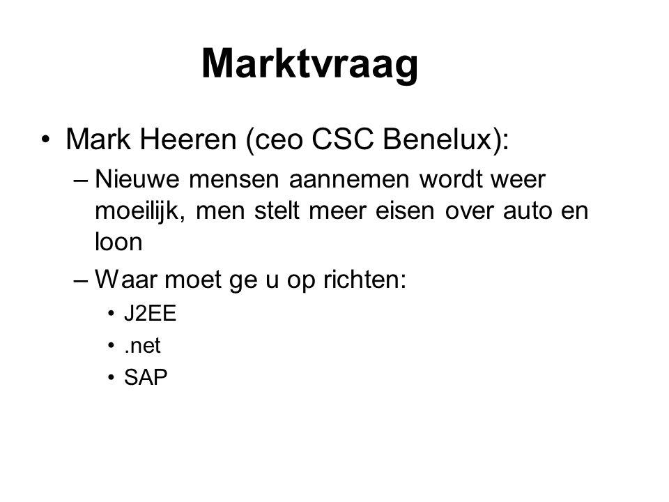 Marktvraag Mark Heeren (ceo CSC Benelux): –Nieuwe mensen aannemen wordt weer moeilijk, men stelt meer eisen over auto en loon –Waar moet ge u op richt