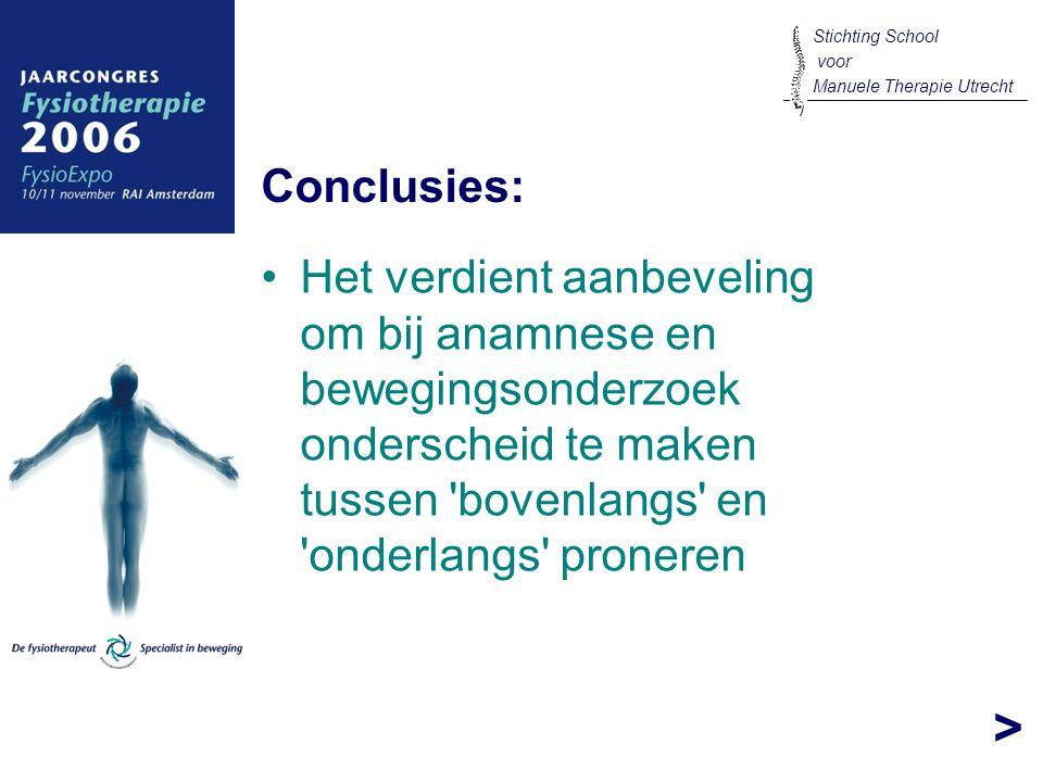 > Het verdient aanbeveling om bij anamnese en bewegingsonderzoek onderscheid te maken tussen 'bovenlangs' en 'onderlangs' proneren Conclusies: Stichti