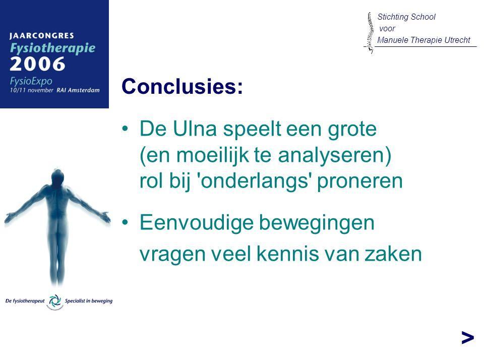 > De Ulna speelt een grote (en moeilijk te analyseren) rol bij 'onderlangs' proneren Conclusies: Stichting School voor Manuele Therapie Utrecht Eenvou