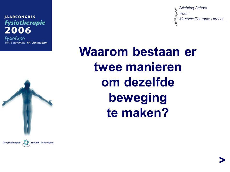 > Waarom bestaan er twee manieren om dezelfde beweging te maken? Stichting School voor Manuele Therapie Utrecht