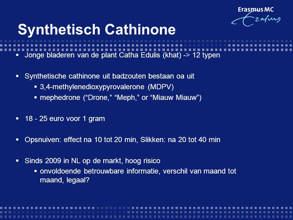  Jonge bladeren van de plant Catha Edulis (khat) -> 12 typen  Synthetische cathinone uit badzouten bestaan oa uit  3,4-methylenedioxypyrovalerone (