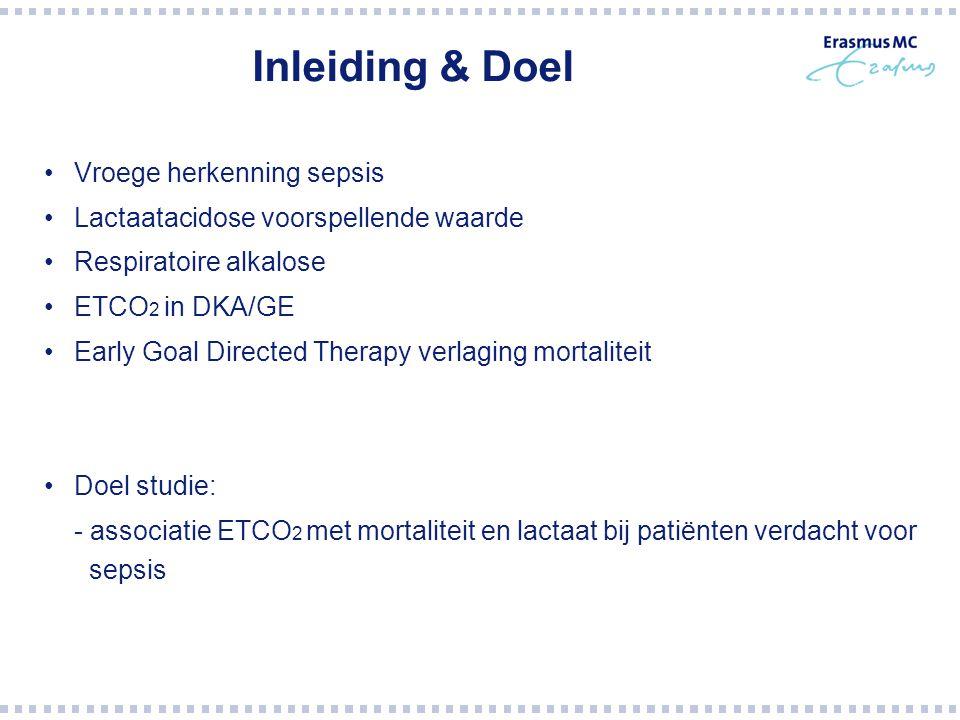 Inleiding & Doel Vroege herkenning sepsis Lactaatacidose voorspellende waarde Respiratoire alkalose ETCO 2 in DKA/GE Early Goal Directed Therapy verla