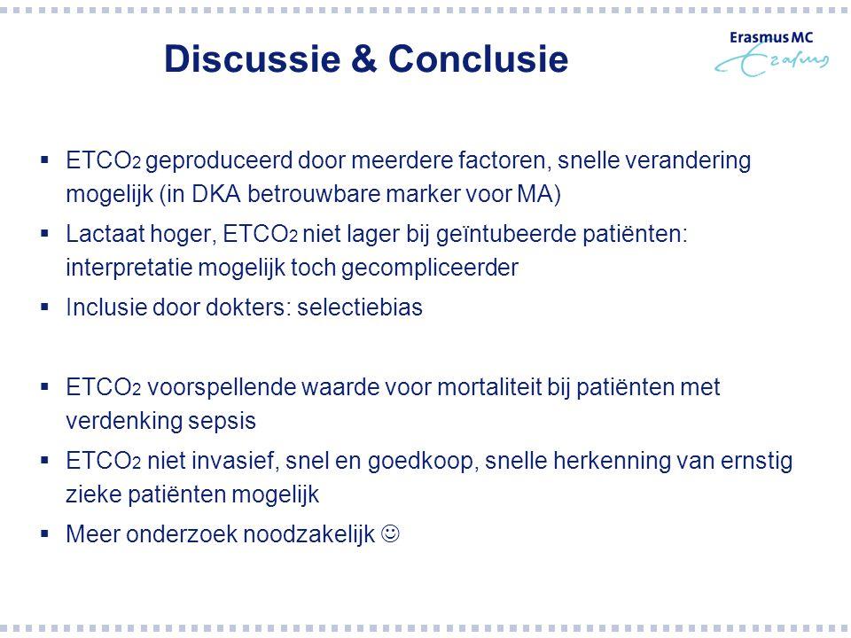 Discussie & Conclusie  ETCO 2 geproduceerd door meerdere factoren, snelle verandering mogelijk (in DKA betrouwbare marker voor MA)  Lactaat hoger, E